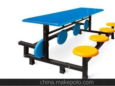 广西折叠玻璃钢餐桌椅生产厂家  四人位连体条凳餐桌椅