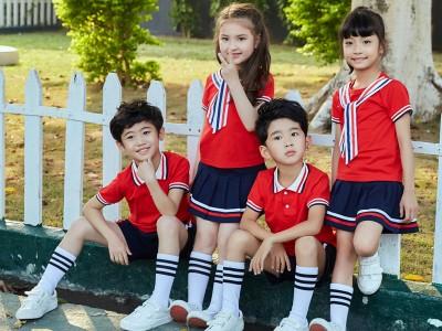 崇左校服定制   幼儿园园服短袖套装儿童班服夏季款2020英伦风小学生校服夏装