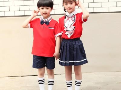 钦州校服定制  幼儿园园服夏装棉校服小学生班服夏季儿童运动套装新款短袖老师