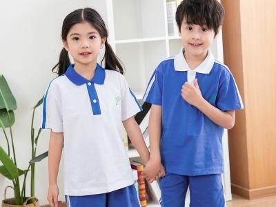 南宁校服定制  校服套装小学生夏季中学生短袖校服高中生班服大码翻领T恤