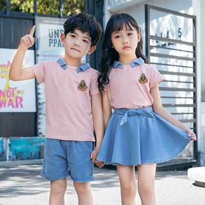 钦州校服定制  幼儿园园服夏装短袖新款定做英伦风小学生校服班服男女童运动套装