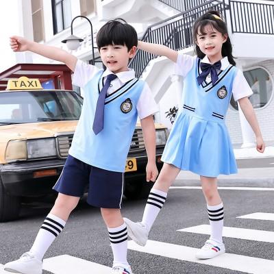 广西校服定制 夏季中小学生校服短袖运动风套装 厂家直销