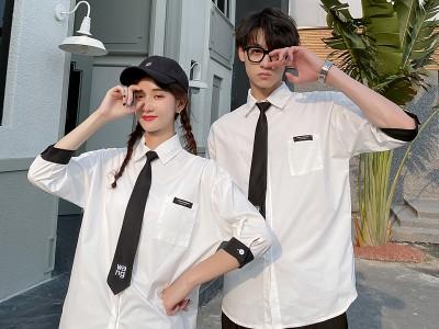 班服定做 夏季套装 学院风高中生学生短袖衬衫英伦韩版