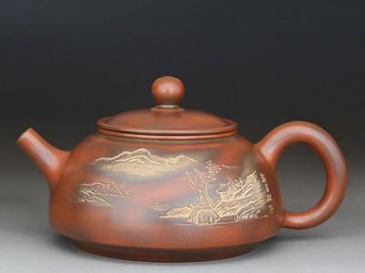 古渊陶艺李人帡坭兴陶半月壶