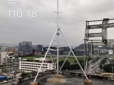 广西南宁市5G无线信号塔一体化基站通讯抱杆通信支撑架爬钉立杆可定制