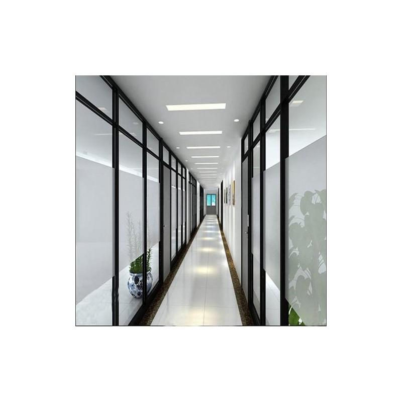 广西磨砂隔断玻璃厂家定制   办公室钢化磨砂玻璃隔断铝合金    百叶板式屏风