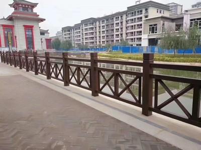 广西大海园林仿木护栏 河堤围栏护栏 水泥仿木栏杆