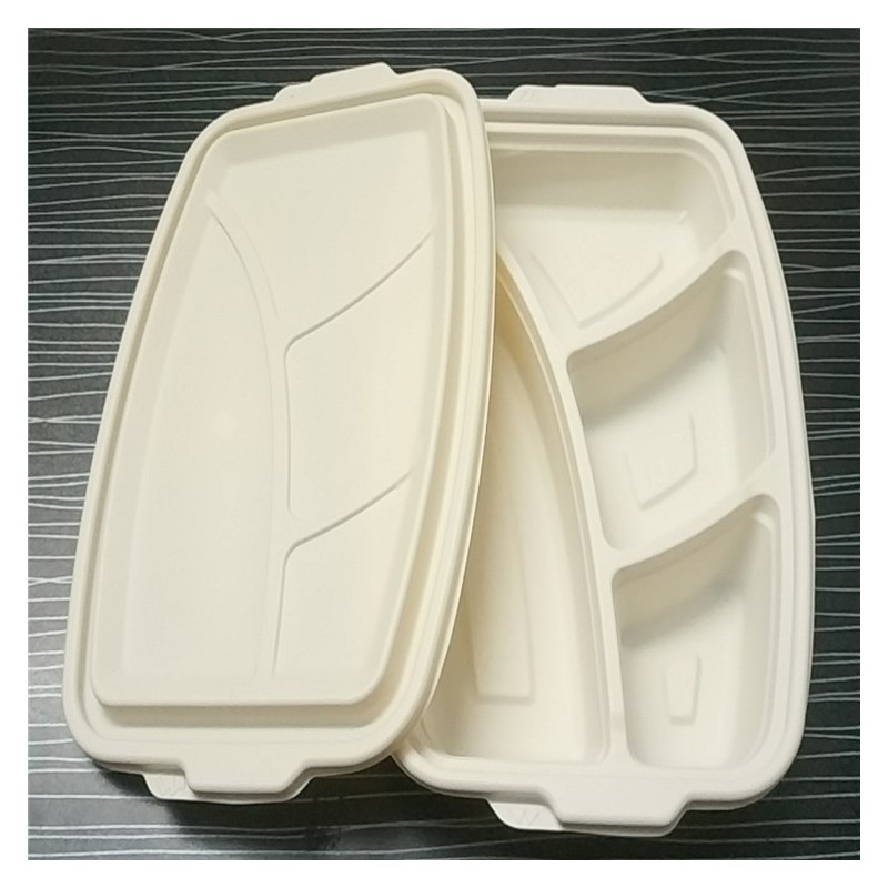 纸浆四格/五格餐盒 一次性环保可降解饭盒 牛皮纸外卖便当盒快餐盒