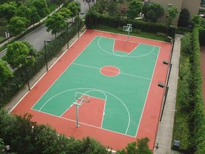 厂家直销硅pu室外篮球场地面材料新国标环保塑胶面层硅pu球场施工