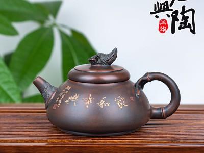 纯手工精品茶壶 紫砂壶工艺 古渊陶艺 坭兴陶荷花鱼新意壶