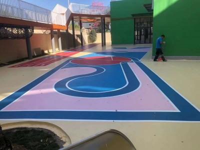 硅PU学校地坪运动场环保地坪工程 硅PU球场面层